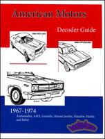 AMC DECODER GUIDE MANUAL BOOK AMERICAN MOTORS RESTORATION VIN AMX JAVELIN
