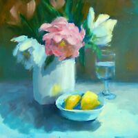 Peonies with Lemons -  original oil painting by Patricia Kness
