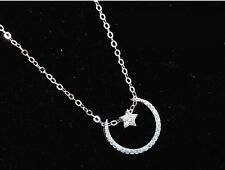 "Sterling Silver Moon Star Cubic Zirconia Pendant Necklace 18"" Chain Gift Box E11"