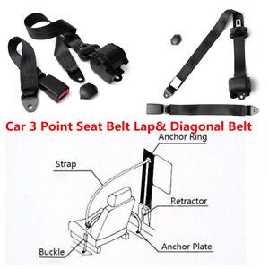 Adjustable Automatic Retractable 3 Point Car Safety Seat Belt Lap& Diagonal Belt