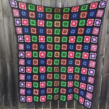 """Granny Square Afghan Crocheted Black Multi-colored 63"""" x 54"""" Acrylic"""