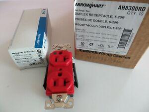 Box of 10 ArrowHart AH8300RD Straight Blade Duplex Receptacle, 125V, 20A, 2 Pole
