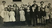 Early 1900s Real Photo Postcard RPPC Class Photo with School Teacher Unposted