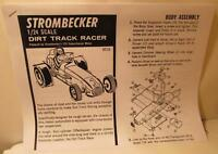 1966 Strombecker 1/24 Dirt Track Racer #8516 Photocopy of Instruction Sheet