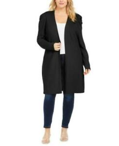 MSRP $100 Inc Plus Size Puff-Sleeve Completer Cardigan Black Size 1X