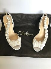 COLE HAAN Ceci Air Slingback Heels Womens 7.5B Off White Satin Wedding Shoes New
