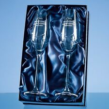 2 Diamante Crystal Kiss Champagne Glass  Flutes Engraved Wedding Engagement Gift