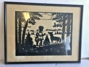 Antique framed silhouette nursery rhyme picture Little Red Riding Hood