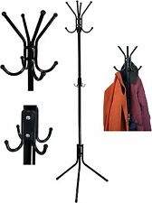12 Hook Coat / Hat / Scarf Hallway Stand. Steel Construction, Freestanding Black