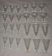 Crystal Stemware Set Wine Goblet Cordial Champagne Sherbet Iced Tea Lot 24
