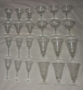 Crystal Stemware Set 24 Wine Goblet Cordial Champagne Sherbet Iced Tea Lot