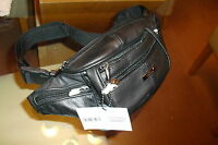 Mens Black  Cowhide Leather Waist/Bum Bag By Lorenz New And Tagged