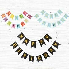 Happy Birthday Bunting Banner Flag Garland Party Decor Flag Pull Kids Fo X4Z3