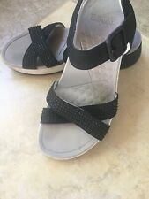 DANSKO Women's Size 38 7.5/8 USA Black Buckle Clogs Ankle Strap Leather Sandals