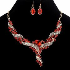 GOLD TONE CLEAR & RED RHINESTONE CRYSTAL NECKLACE EARRINGS SET