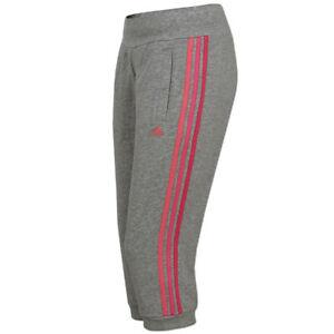 adidas Damen 3/4 Hose Climalite Cotton Capri Hose Freizeithose grau pink