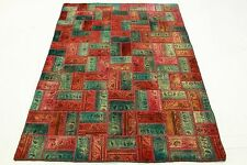 Vintage Patchwork Orient Teppich  rot türkis 200x140 modern Used Look  edel 2030