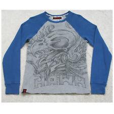 Tony Hawk Thermal Tee T-Shirt Long Sleeve Cotton Size Small Men's Gray & Blue