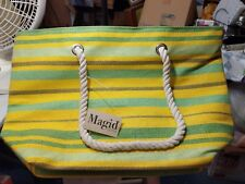 MAGID Women's Straw Bag Beach Tote Basket Shoulder Bag Yellow Multi Striped NWT