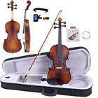 Glarry 4/4 Classic Solid Wood adult Retro Acoustic Violin+Case+Bow+Rosin+Tuner for sale