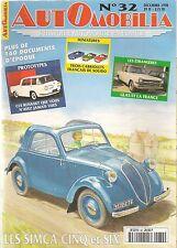 AUTOMOBILIA 32 SIMCA 5 SIMCA 6 1936 1950 GLAS 1955 1969 RENAULT PROTOYPES DELAHA