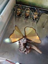 Beautiful Vintage Brass Butterfly Sculpture On Burl/Drift Wood
