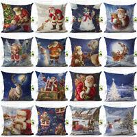 """18"""" Merry Christmas Linen Santa Claus Pillow Cases Sofa Cushion Cover Home Decor"""