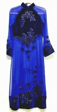 VTG Cobalt Blue Navy Velvet Cut-out Semi-Sheer Chinese Asian Long Eve. Dress  S