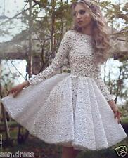 White Long Sleeve Lace Short Formal Gowns Party Homecoming Dress Vintage Custom