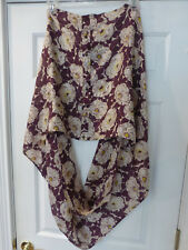 NWT LANDS'END WOMENS SILK SCARF WRAP BUTTON INFINITY SCARF FLORAL