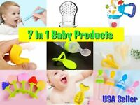 7 in 1 Baby Feeding Spoon Bottle Fruit Pacifier Silicone Spoon Teether Thermomet