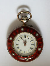 Antique Silver Red Enamel Dido Ladies  Pocket Watch decorated with Pearls c1880