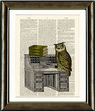 Antique Book page Art Print - Owl on Bureau Digital Collage Upcyled Page