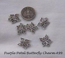 Jewellery Craft Design - Tibetan Silver Pretty Butterfly Charm Pendant Pk 10