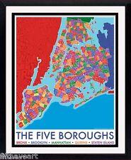 New York 5 Boroughs Map Postert Framed & Mated Print 25 x 30