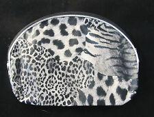 Animal Print Make Up Pouch Zipper Closure Leopard Zebra Tiger BLACK Gray