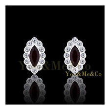 18k White Gold EP 0.32ct Marquise Cut Garnet Crystal Stud Earrings