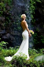 Backless V-Neck Lace Wedding Dress Bridal Gown Custom Size 4 6 8 10 12 14 16 18+
