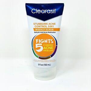 Clearasil Stubborn Acne Control 5in1 Weekly Scrub Salicylic Acid 5 oz Face Wash