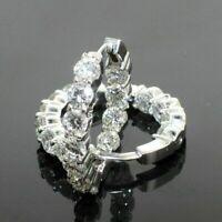 Certified 2.10Ct Round Cut Diamond Huggie Hoop Earrings Solid 14K White Gold