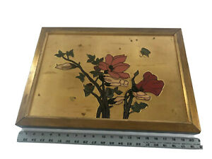Flowers Pink & Red Roses Vtg Painting Art Gold Painted Wood Frame