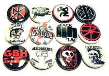 "12 1980s Punk Rock Bands One Inch Buttons 1"" Badges Hardcore Music 80smosh Set#2"