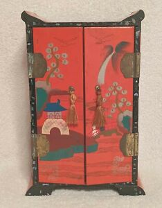 Large VTG Unusual RED LACQUER Inlay HAND PAINTED Jewelry Music BOX Geisha JAPAN