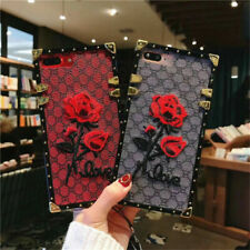 Square Case for iPhone 11 Pro Max XS 8 Embroidery Rose Flower Luxury Phone Cover
