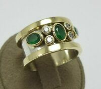 TURKISH HANDMADE JEWELRY 925 STERLING SILVER EMERALD BAND RING    #TR