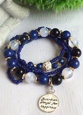 schönes Schutzengel Armband Perlen Multi Strang 5 teilig Silber Blau