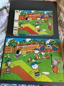 Peanuts Charlie Brown, Lucy, Linus, Snoopy 250 pc Puzzle Complete MB  Baseball M