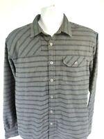 HOWLER BROS Huckberry Harker's Flannel Long Sleeve Stripe Grey Blue Shirt Mens M