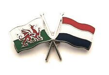 Wales & Holland Flag Friendship Lapel Pin badge FREE UK Delivery