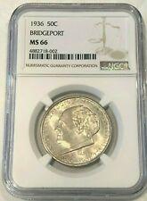 1936 Bridgeport Commemorative Silver Half Dollar NGC MS66  : Very Nice Detail